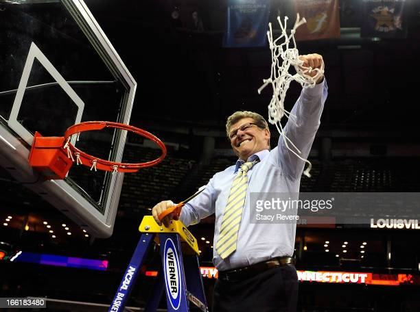 Head coach Geno Auriemma of the Connecticut Huskies cuts down the net after defeating the Louisville Cardinals during the 2013 NCAA Women's Final...
