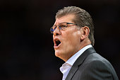 Head coach Geno Auriemma of the Connecticut Huskies directs his team against the South Carolina Gamecocks at Colonial Life Arena on February 8 2016...