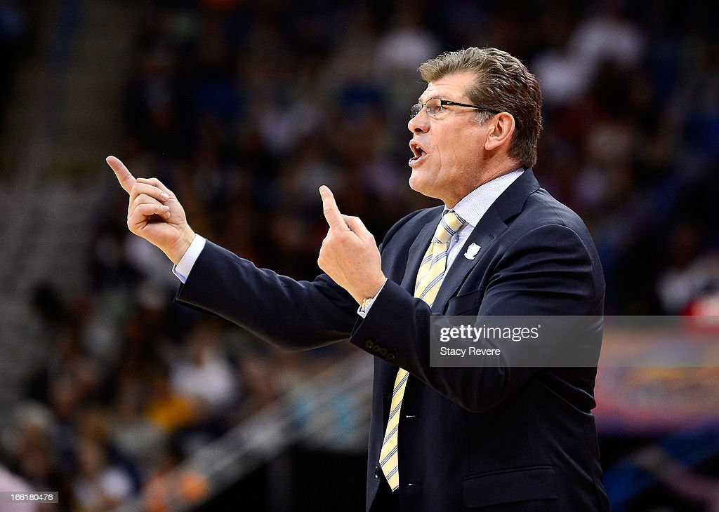 Head coach Geno Auriemma of the Connecticut Huskies gestures on the sideline in the first half against the Louisville Cardinals during the 2013 NCAA Women's Final Four Championship at New Orleans Arena on April 9, 2013 in New Orleans, Louisiana.