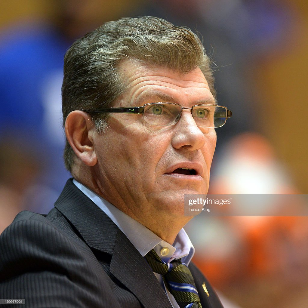 Head Coach Geno Auriemma of the Connecticut Huskies looks on against the Duke Blue Devils at Cameron Indoor Stadium on December 17, 2013 in Durham, North Carolina. Connecticut defeated Duke 83-61.