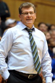 Head Coach Geno Auriemma of the Connecticut Huskies looks on against the Duke Blue Devils at Cameron Indoor Stadium on December 17 2013 in Durham...