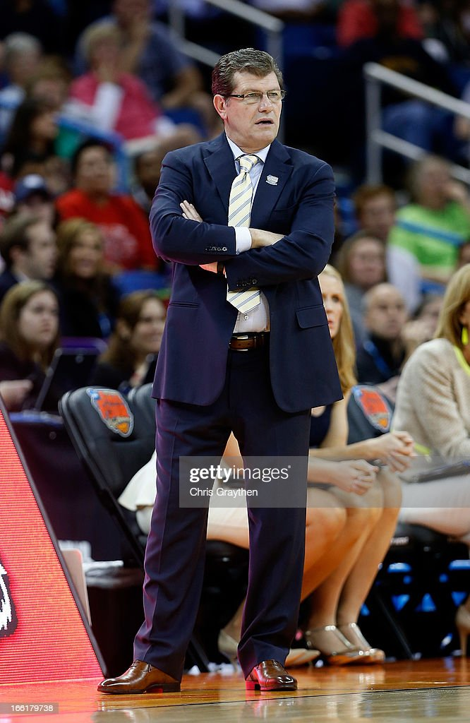 Head coach Geno Auriemma of the Connecticut Huskies looks on from the sideline in the first half against the Louisville Cardinals during the 2013 NCAA Women's Final Four Championship at New Orleans Arena on April 9, 2013 in New Orleans, Louisiana.