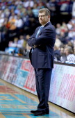 Head coach Geno Auriemma of the Connecticut Huskies looks on from the bench in the second half against the Stanford Cardinal during the NCAA Women's...