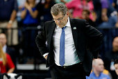 Head coach Geno Auriemma of the Connecticut Huskies looks on in the second half against the Maryland Terrapins during the NCAA Women's Final Four...