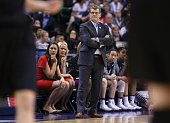 Head coach Geno Auriemma of the Connecticut Huskies looks on in the first quarter against the Oregon State Beavers during the semifinals of the 2016...