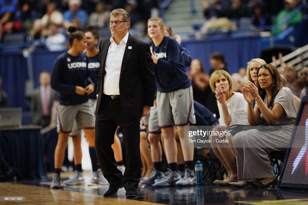 Head coach Geno Auriemma of the Connecticut Huskies on the sideline during the the UConn Huskies Vs Notre Dame, NCAA Women's Basketball game at the XL Center, Hartford, Connecticut. December 3, 2017