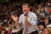 Head coach Geno Auriemma of the Connecticut Huskies reacts as he coaches in the first half against the Notre Dame Fighting Irish during the National...