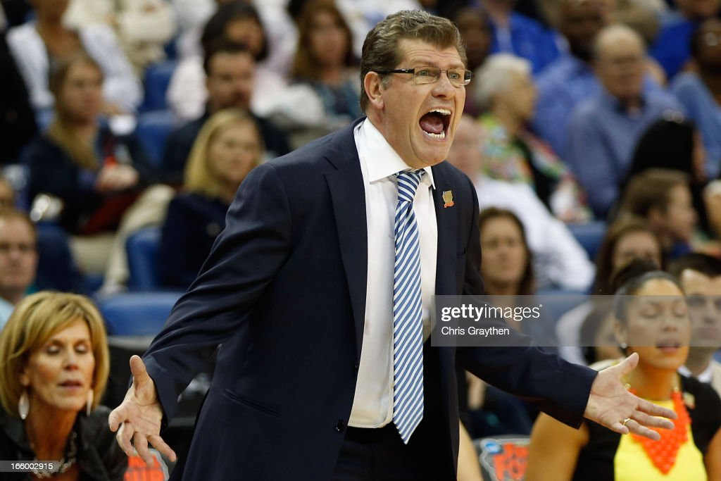 Head coach Geno Auriemma of the Connecticut Huskies reacts during the game against the Notre Dame Fighting Irish during the National Semifinal game of the 2013 NCAA Division I Women's Basketball Championship at the New Orleans Arena on April 7, 2013 in New Orleans, Louisiana.