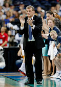 Head coach Geno Auriemma of the Connecticut Huskies reacts in the second half against the Maryland Terrapins during the NCAA Women's Final Four...