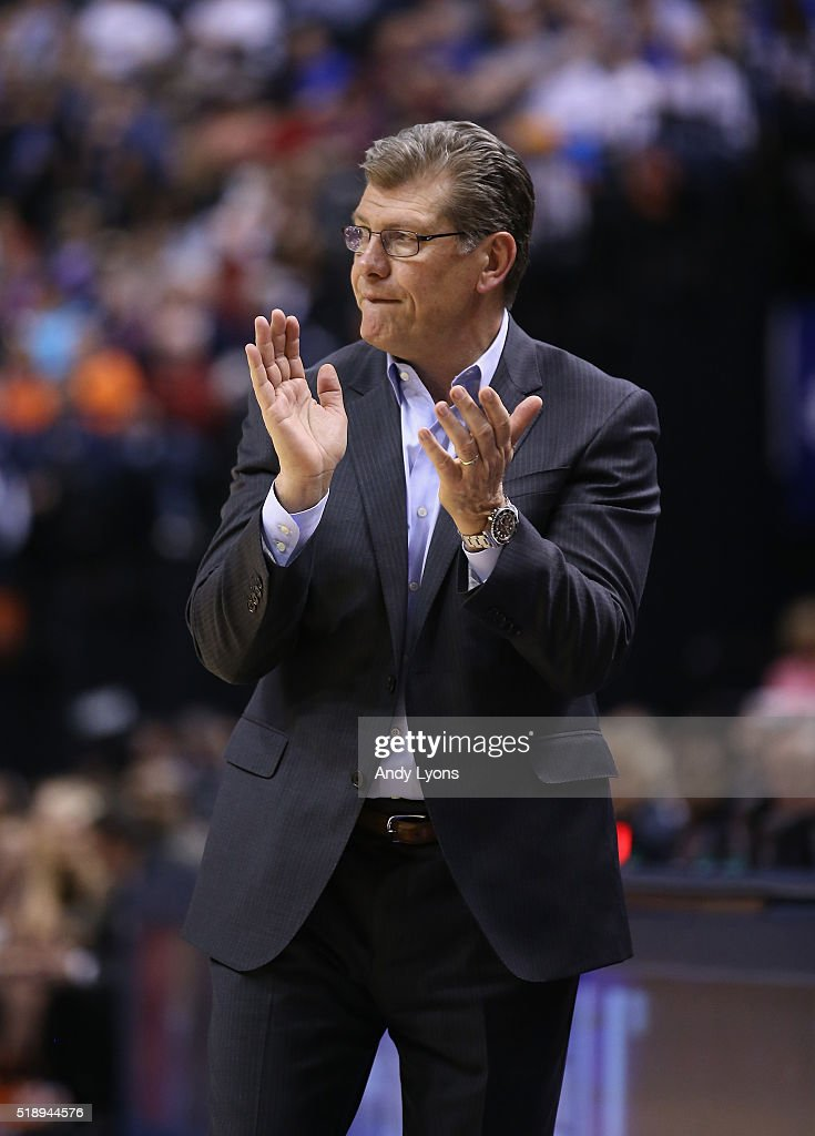 Head coach Geno Auriemma of the Connecticut Huskies reacts in the fourth quarter against the Oregon State Beavers during the semifinals of the 2016...