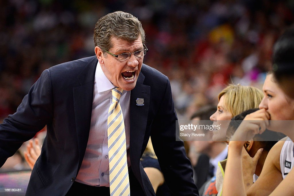 Head coach Geno Auriemma of the Connecticut Huskies reacts on the sideline in the first half against the Louisville Cardinals during the 2013 NCAA Women's Final Four Championship at New Orleans Arena on April 9, 2013 in New Orleans, Louisiana.