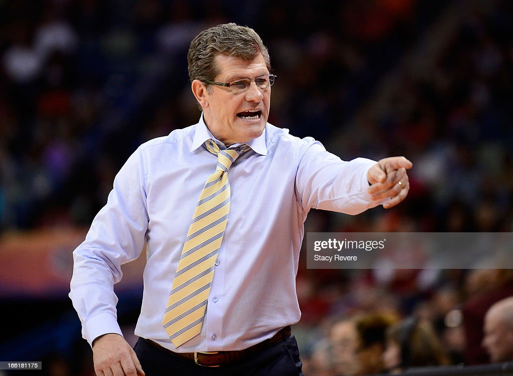 Head coach Geno Auriemma of the Connecticut Huskies reacts on the sideline in the second half against the Louisville Cardinals during the 2013 NCAA Women's Final Four Championship at New Orleans Arena on April 9, 2013 in New Orleans, Louisiana.