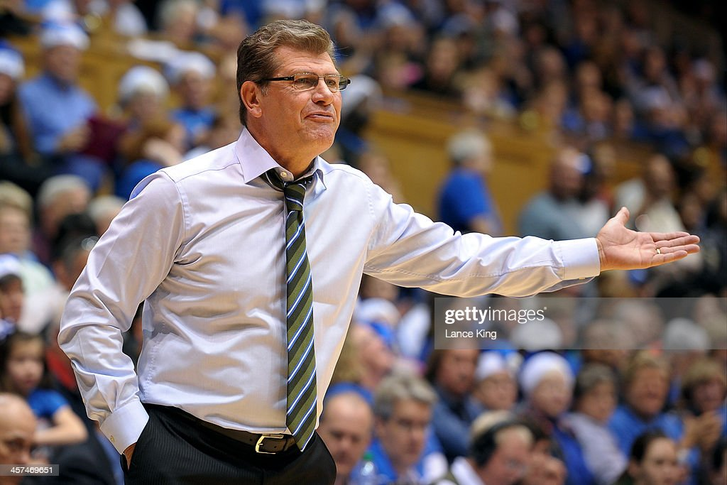 Head Coach <a gi-track='captionPersonalityLinkClicked' href=/galleries/search?phrase=Geno+Auriemma&family=editorial&specificpeople=704607 ng-click='$event.stopPropagation()'>Geno Auriemma</a> of the Connecticut Huskies reacts to a call against the Duke Blue Devils at Cameron Indoor Stadium on December 17, 2013 in Durham, North Carolina.