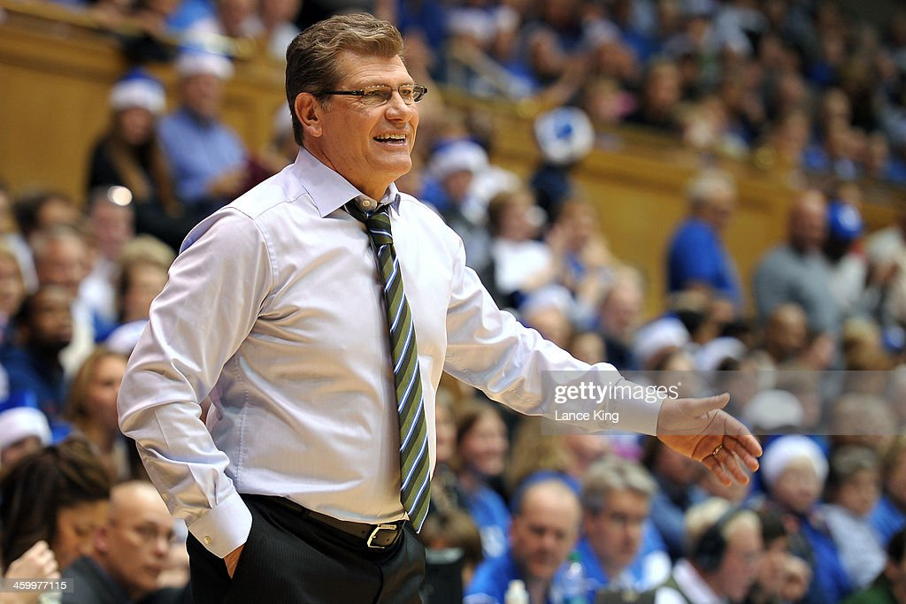 Head Coach Geno Auriemma of the Connecticut Huskies reacts to a call against the Duke Blue Devils at Cameron Indoor Stadium on December 17, 2013 in Durham, North Carolina.