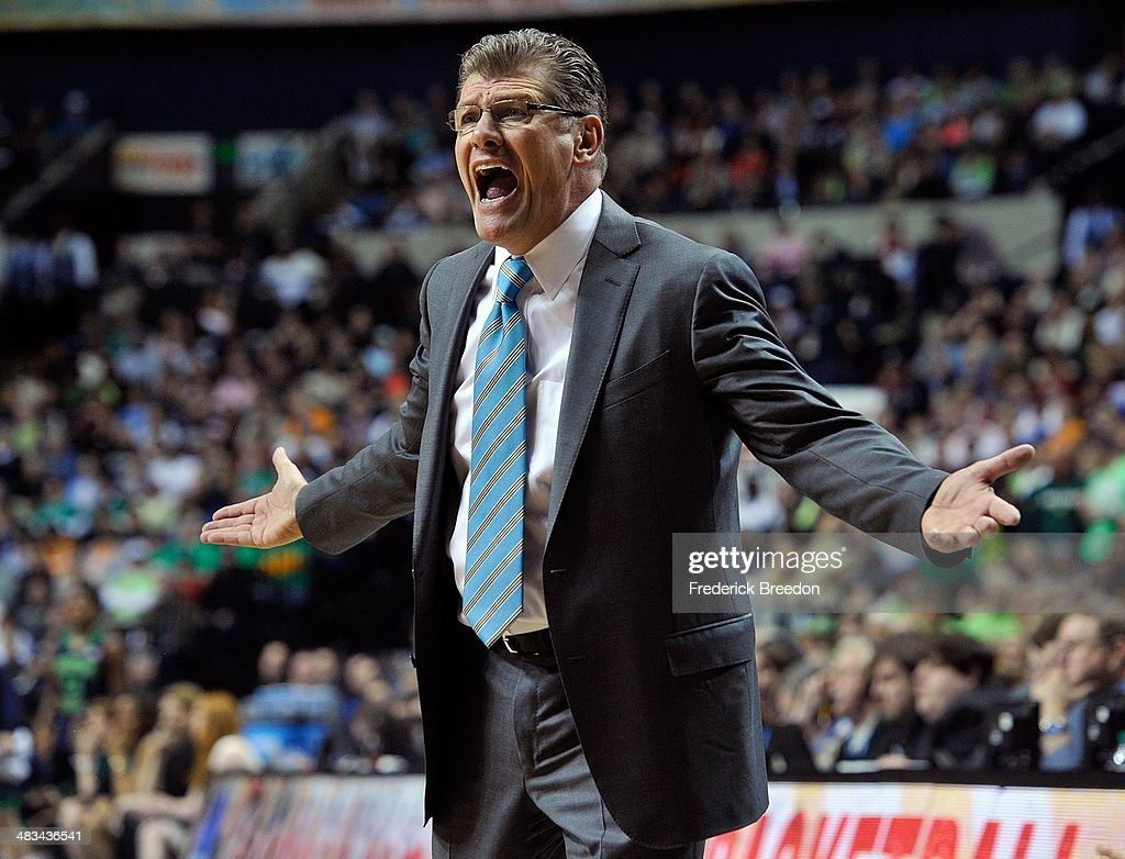 Head coach Geno Auriemma of the Connecticut Huskies reacts to a call during the NCAA Women's Basketball Tournament Championship game against the...