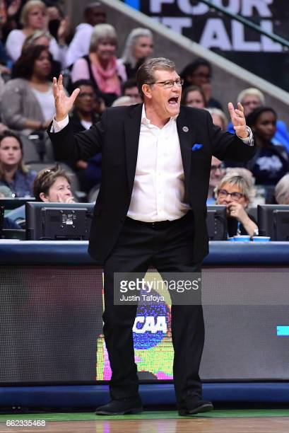 Head coach Geno Auriemma of the Connecticut Huskies reacts to a play during the 2017 NCAA Women's Final Four at American Airlines Center on March 31...
