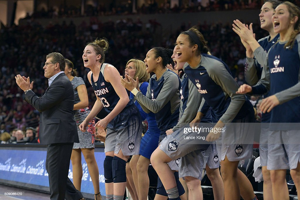 Head coach <a gi-track='captionPersonalityLinkClicked' href=/galleries/search?phrase=Geno+Auriemma&family=editorial&specificpeople=704607 ng-click='$event.stopPropagation()'>Geno Auriemma</a> (L) of the Connecticut Huskies reacts with his players during a game against the South Carolina Gamecocks at Colonial Life Arena on February 8, 2016 in Columbia, South Carolina.
