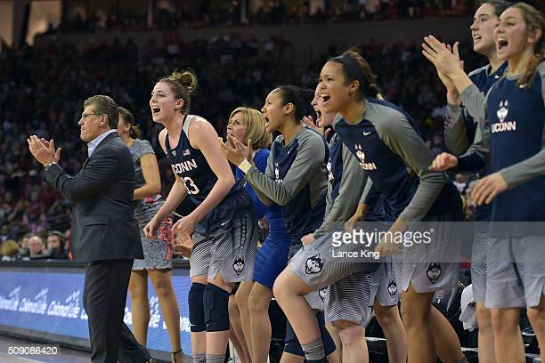 Head coach Geno Auriemma of the Connecticut Huskies reacts with his players during a game against the South Carolina Gamecocks at Colonial Life Arena...