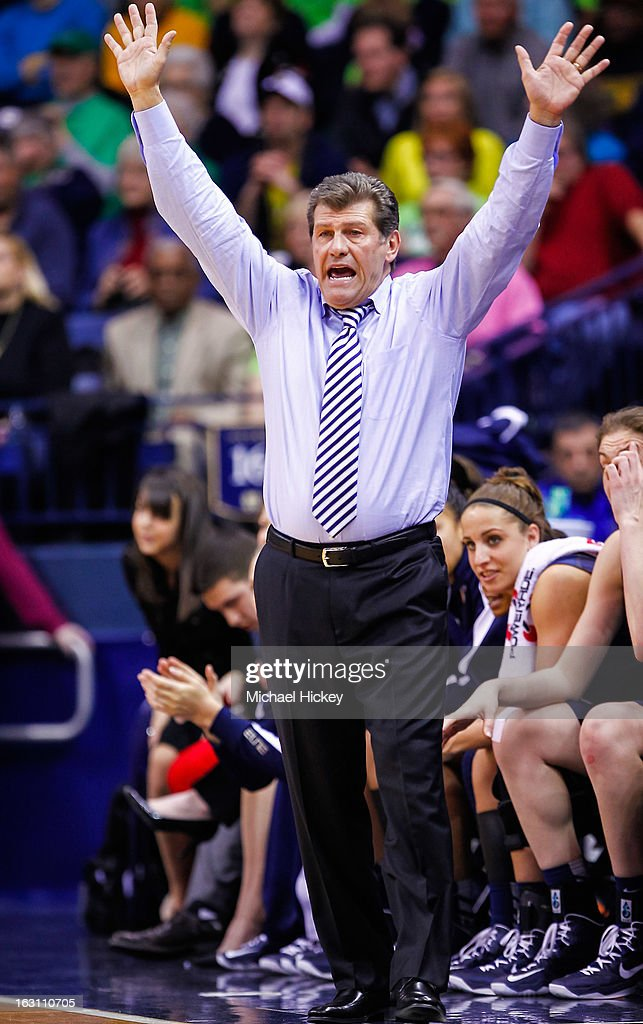 Head coach <a gi-track='captionPersonalityLinkClicked' href=/galleries/search?phrase=Geno+Auriemma&family=editorial&specificpeople=704607 ng-click='$event.stopPropagation()'>Geno Auriemma</a> of the Connecticut Huskies seen on the sidelines during the game against the Notre Dame Fighting Irish at Purcel Pavilion on March 4, 2013 in South Bend, Indiana. Notre Dame defeated Connecticut 96-87 in triple overtime to win the Big East regular season title.