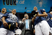 Head coach Geno Auriemma of the Connecticut Huskies speaks on stage after defeating the Notre Dame Fighting Irish 6353 during the NCAA Women's Final...