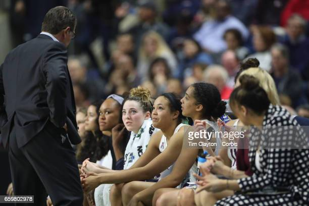 Head coach Geno Auriemma of the Connecticut Huskies talking to his starters Katie Lou Samuelson of the Connecticut Huskies Napheesa Collier of the...