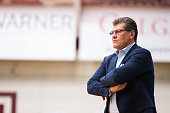 Head coach Geno Auriemma of the Connecticut Huskies watches game action against the Colgate Raiders during the second half on December 9 2015 at...