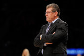 Head coach Geno Auriemma of the Connecticut Huskies watches the game against the Maryland Terrapins during the Maggie Dixon Classic at Madison Square...