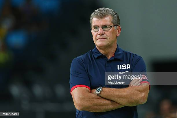 Head coach Geno Auriemma of the United States looks on during the Women's Quarterfinal match against Japan on Day 11 of the Rio 2016 Olympic Games at...