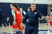 Head coach Geno Auriemma of the USA Women's National Team during training camp at the University of Connecticut in Storrs Connecticut on February 22...
