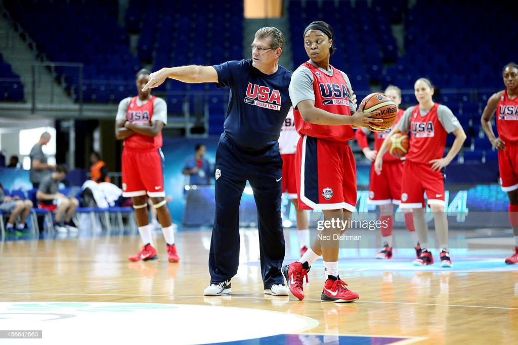 Head coach <a gi-track='captionPersonalityLinkClicked' href=/galleries/search?phrase=Geno+Auriemma&family=editorial&specificpeople=704607 ng-click='$event.stopPropagation()'>Geno Auriemma</a> of the Women's Senior U.S. National Team goes through a play during a team practice before the semifinals of the 2014 FIBA World Championships on October 4, 2014 in Istanbul, Turkey.