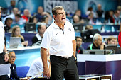 Head coach Geno Auriemma of the Women's Senior US National Team reacts during game against Australia during the semifinal round of the 2014 FIBA...