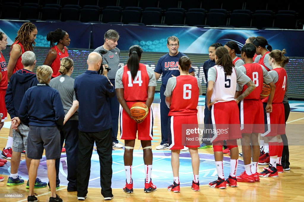 Head coach <a gi-track='captionPersonalityLinkClicked' href=/galleries/search?phrase=Geno+Auriemma&family=editorial&specificpeople=704607 ng-click='$event.stopPropagation()'>Geno Auriemma</a> of the Women's Senior U.S. National Team speaks with the team during a team practice before the semifinals of the 2014 FIBA World Championships on October 4, 2014 in Istanbul, Turkey.