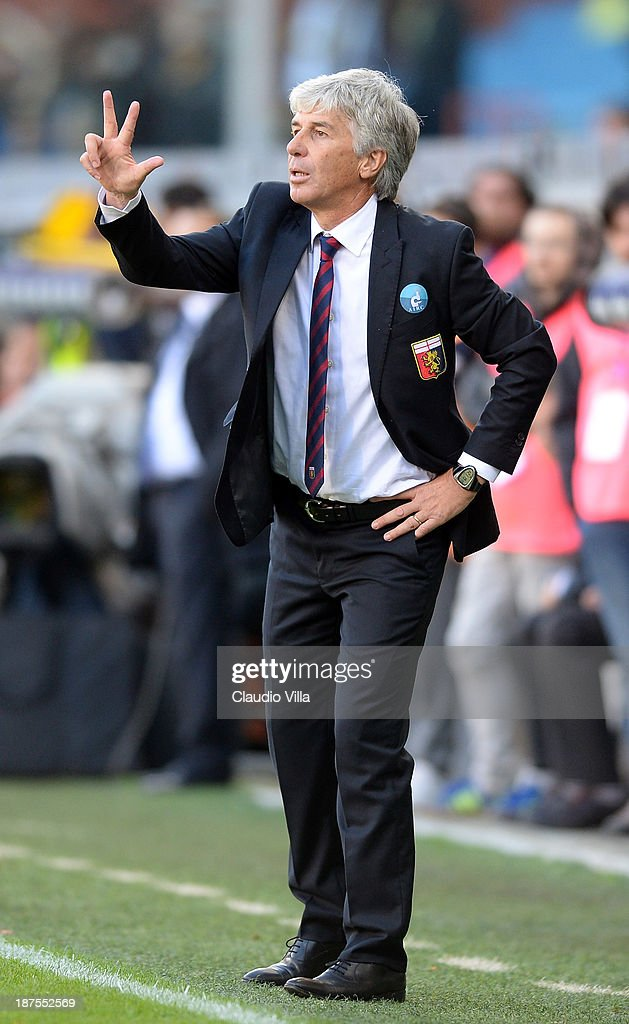 Head coach Genoa CFC <a gi-track='captionPersonalityLinkClicked' href=/galleries/search?phrase=Gian+Piero+Gasperini&family=editorial&specificpeople=4667555 ng-click='$event.stopPropagation()'>Gian Piero Gasperini</a> reacts during the Serie A match between Genoa CFC and Hellas Verona FC at Stadio Luigi Ferraris on November 10, 2013 in Genoa, Italy.