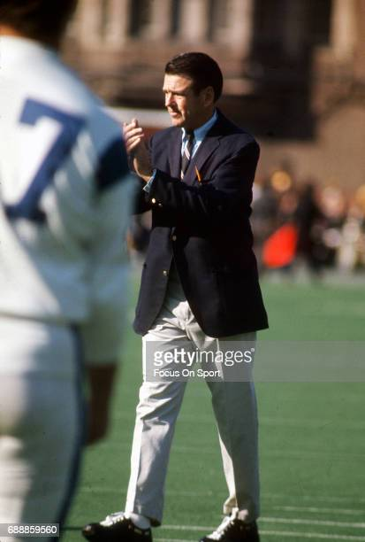 Head coach George Allen of the Los Angeles Rams looks on during pregame warmups prior to the start of an NFL Football game circa 1966 Allen coached...