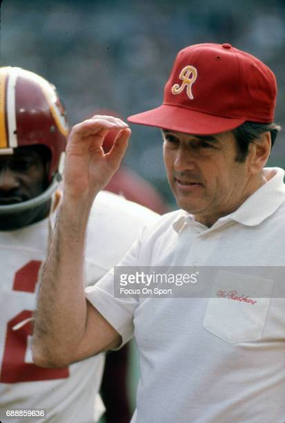 Head coach George Allen of the Washington Redskins looks on during an NFL football game circa 1972 Allen coached the Redskins from 197177