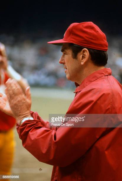 Head coach George Allen of the Washington Redskins looks on from the sidelines during an NFL football game circa 1972 at RFK Stadium in Washington DC...