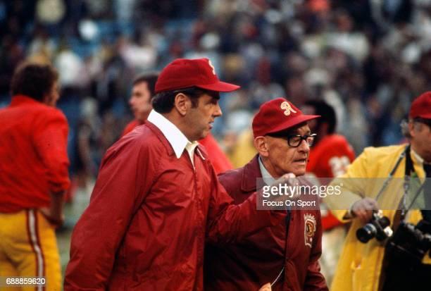 Head coach George Allen of the Washington Redskins walks off the field after an NFL football game circa 1972 at RFK Stadium in Washington DC Allen...