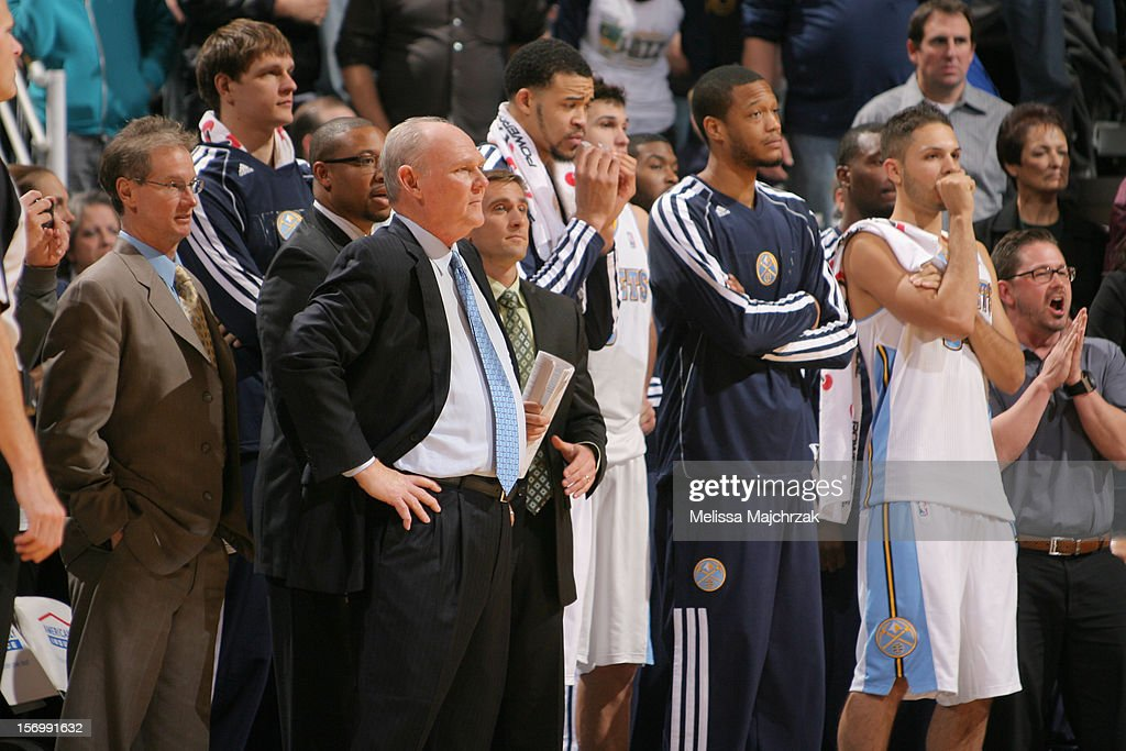 Head coach <a gi-track='captionPersonalityLinkClicked' href=/galleries/search?phrase=George+Karl&family=editorial&specificpeople=204519 ng-click='$event.stopPropagation()'>George Karl</a> and the Denver Nuggets react from the sidelines during the game against the Utah Jazz at Energy Solutions Arena on November 26, 2012 in Salt Lake City, Utah.