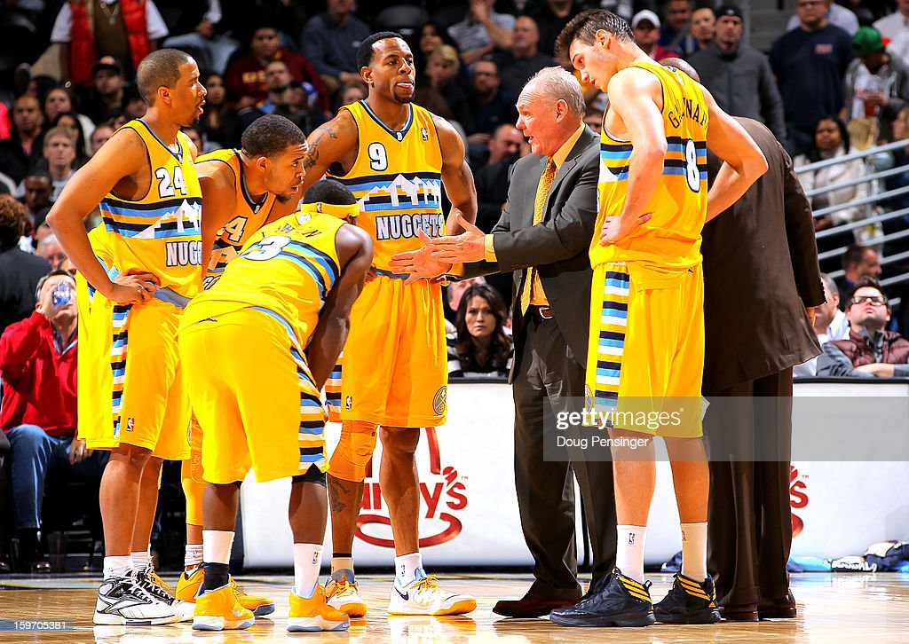 Head coach George Karl leads the Denver Nuggets against the Portland Trail Blazers at the Pepsi Center on January 15, 2013 in Denver, Colorado. The Nuggets defeated the Trail Blazers 115-111 in overtime.