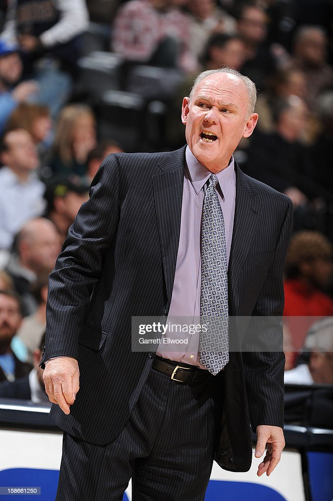 Head Coach George Karl of the Denver Nuggets directs during the game between the Charlotte Bobcats and the Denver Nuggets on December 22, 2012 at the Pepsi Center in Denver, Colorado.