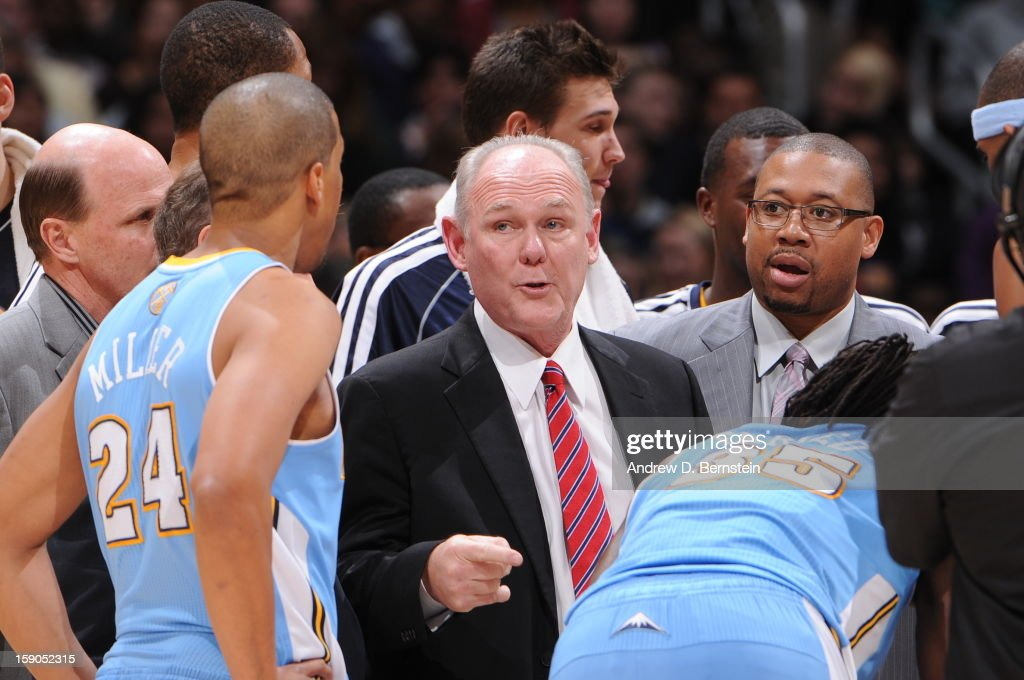 Head coach George Karl of the Denver Nuggets directs his team in a timeout against the Los Angeles Lakers at Staples Center on January 6, 2013 in Los Angeles, California.