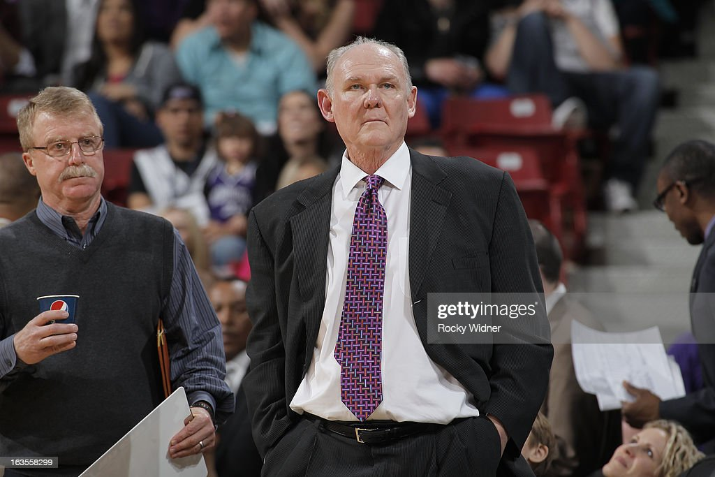 Head Coach George Karl of the Denver Nuggets in a game against the Sacramento Kings on March 5, 2013 at Sleep Train Arena in Sacramento, California.