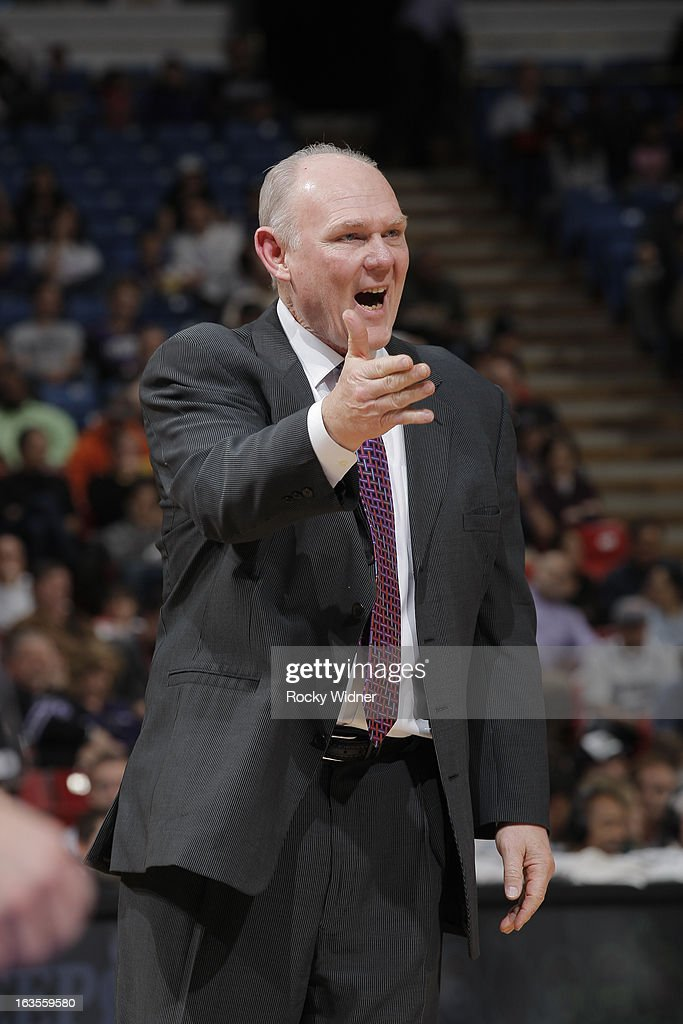 Head Coach <a gi-track='captionPersonalityLinkClicked' href=/galleries/search?phrase=George+Karl&family=editorial&specificpeople=204519 ng-click='$event.stopPropagation()'>George Karl</a> of the Denver Nuggets in a game against the Sacramento Kings on March 5, 2013 at Sleep Train Arena in Sacramento, California.