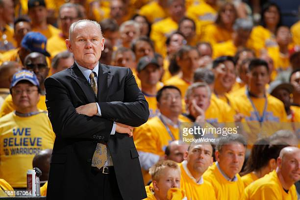 Head Coach George Karl of the Denver Nuggets in a game against the Golden State Warriors in Game Six of the Western Conference Quarterfinals during...