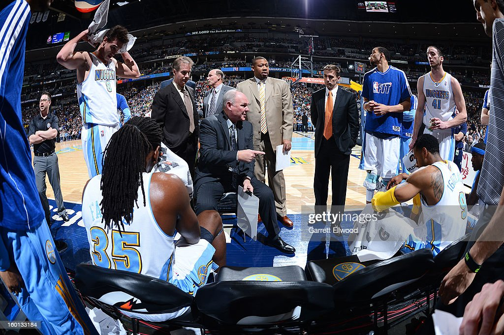 Head Coach George Karl of the Denver Nuggets instructs his team during the game between the Sacramento Kings and the Denver Nuggets on January 26, 2013 at the Pepsi Center in Denver, Colorado.