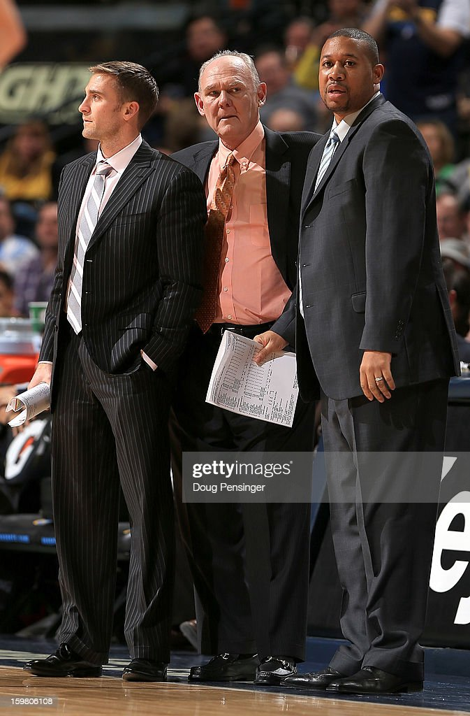 Head coach George Karl (C) of the Denver Nuggets is flanked by assistant coaches Chad Iske (L) and Melvin Hunt (R) after Karl received a technical foul against the Oklahoma City Thunder at the Pepsi Center on January 20, 2013 in Denver, Colorado. Karl moved into sixth place on the NBA All Time Wins List posting his 1099th victory with a 121-118 win over the Oklahoma City Thunder in overtime.