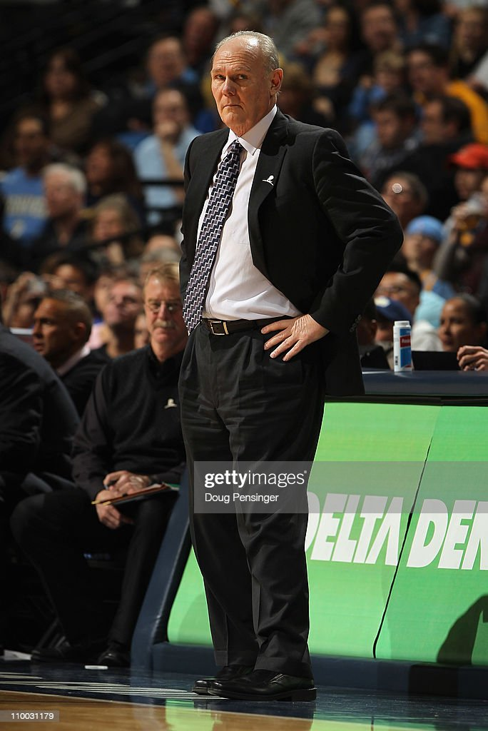 Head coach <a gi-track='captionPersonalityLinkClicked' href=/galleries/search?phrase=George+Karl&family=editorial&specificpeople=204519 ng-click='$event.stopPropagation()'>George Karl</a> of the Denver Nuggets leads his team against the Detroit Pistons at the Pepsi Center on March 12, 2011 in Denver, Colorado. The Nuggets defeated the Pistons 131-101.