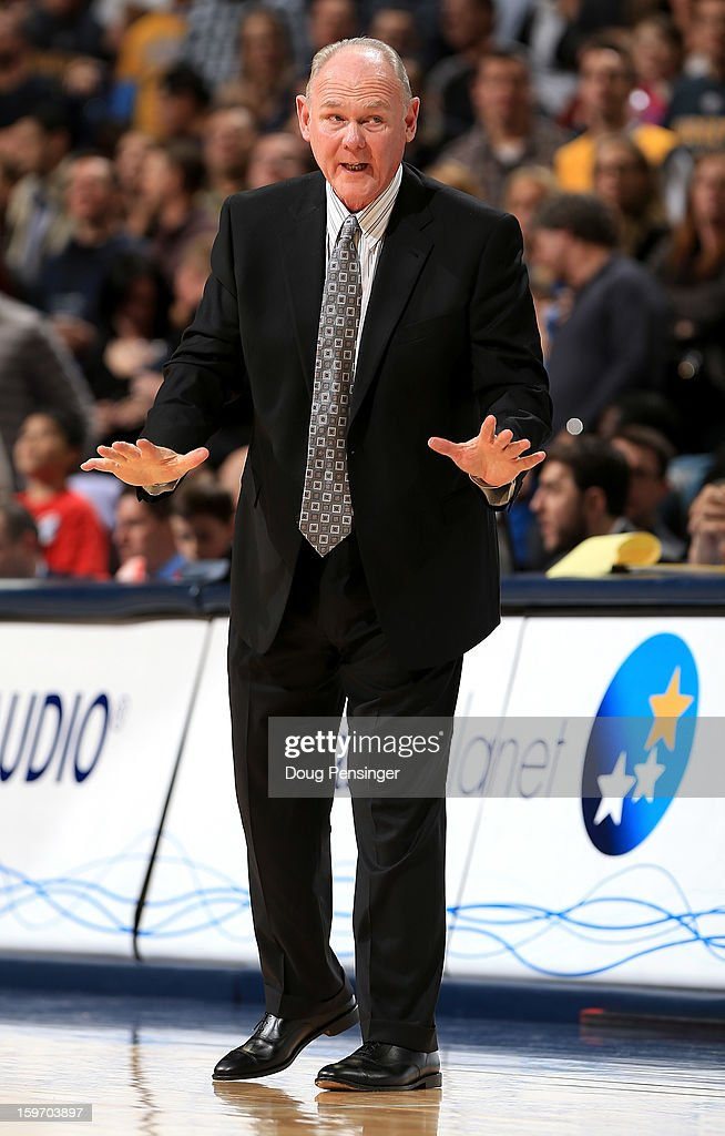 Head coach George Karl of the Denver Nuggets leads his team against the Washington Wizards at the Pepsi Center on January 18, 2013 in Denver, Colorado.