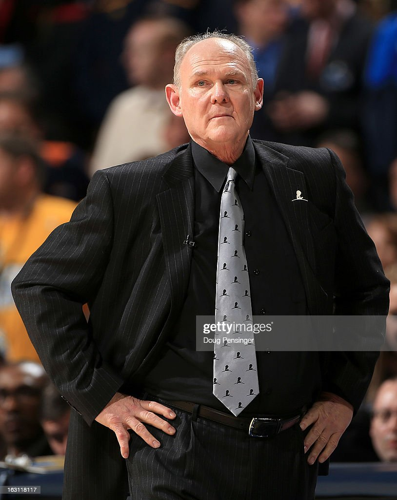 Head coach George Karl of the Denver Nuggets leads his team against the Oklahoma City Thunderat the Pepsi Center on March 1, 2013 in Denver, Colorado. The Nuggets defeated the Thunder 105-103.