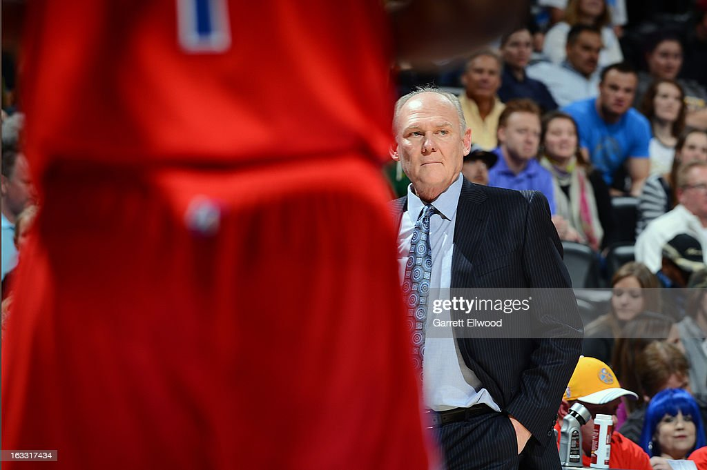 Head Coach George Karl of the Denver Nuggets looks on versus the Los Angeles Clippers on March 7, 2013 at the Pepsi Center in Denver, Colorado.